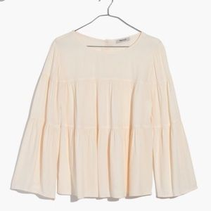 Madewell Tops - Madewell tiered button back top ivory size L